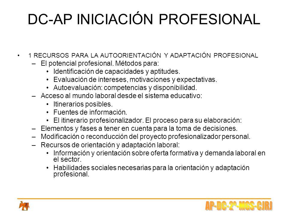 DC-AP INICIACIÓN PROFESIONAL 1 RECURSOS PARA LA AUTOORIENTACIÓN Y ADAPTACIÓN PROFESIONAL –El potencial profesional. Métodos para: Identificación de ca