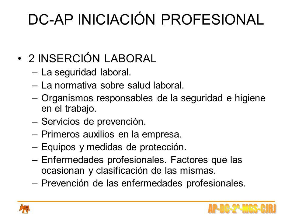 DC-AP INICIACIÓN PROFESIONAL 2 INSERCIÓN LABORAL –La seguridad laboral. –La normativa sobre salud laboral. –Organismos responsables de la seguridad e