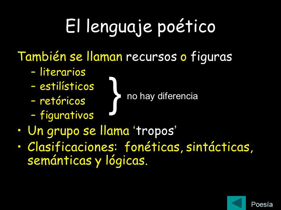 El lenguaje poético También se llaman recursos o figuras –literarios –estilísticos –retóricos –figurativos Un grupo se llama tropos Clasificaciones: f
