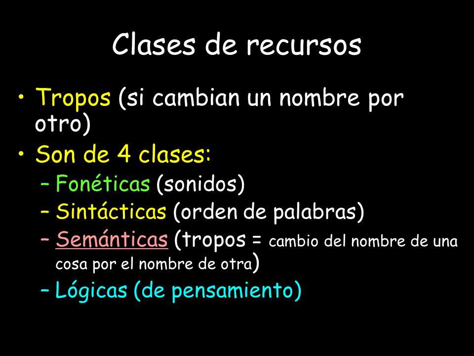 Clases de recursos Tropos (si cambian un nombre por otro) Son de 4 clases: –Fonéticas (sonidos) –Sintácticas (orden de palabras) –Semánticas (tropos =