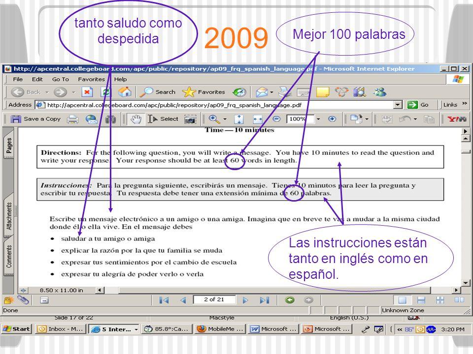 2009 tanto saludo como despedida Mejor 100 palabras Las instrucciones están tanto en inglés como en español.