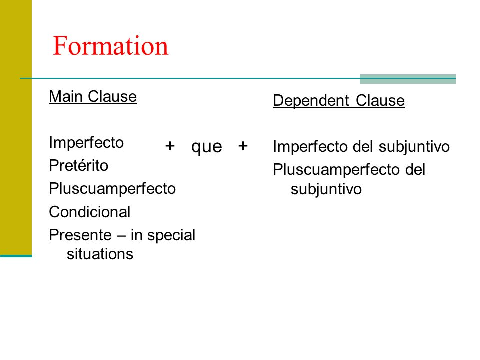 Formation Main Clause Imperfecto Pretérito Pluscuamperfecto Condicional Presente – in special situations Dependent Clause Imperfecto del subjuntivo Pl