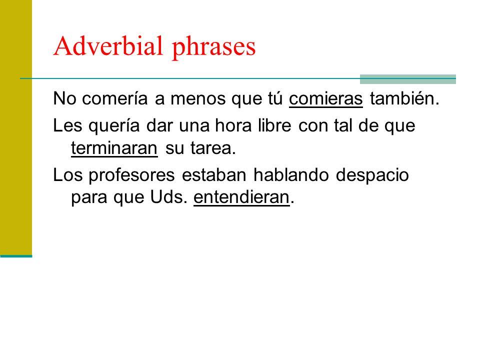 Adverbial time phrases Salimos tan pronto como te vistieras.