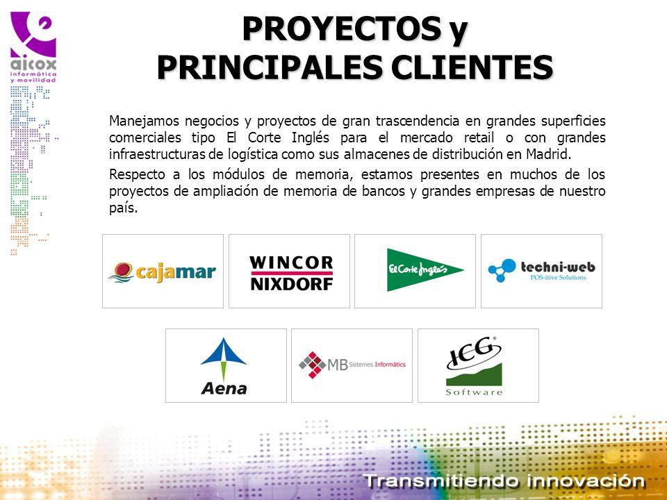 PROYECTOS y PRINCIPALES CLIENTES Manejamos negocios y proyectos de gran trascendencia en grandes superficies comerciales tipo El Corte Inglés para el