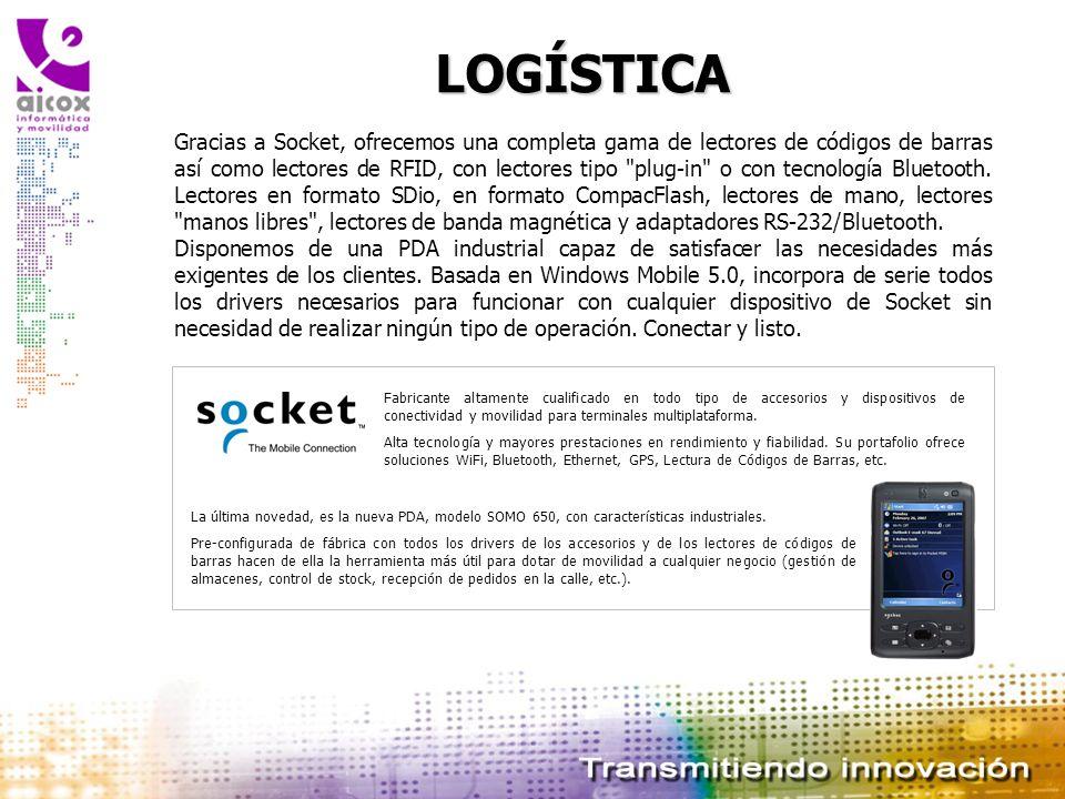 LOGÍSTICA Gracias a Socket, ofrecemos una completa gama de lectores de códigos de barras así como lectores de RFID, con lectores tipo