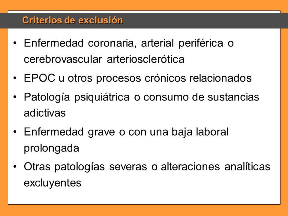 Criterios de exclusión Enfermedad coronaria, arterial periférica o cerebrovascular arteriosclerótica EPOC u otros procesos crónicos relacionados Patol
