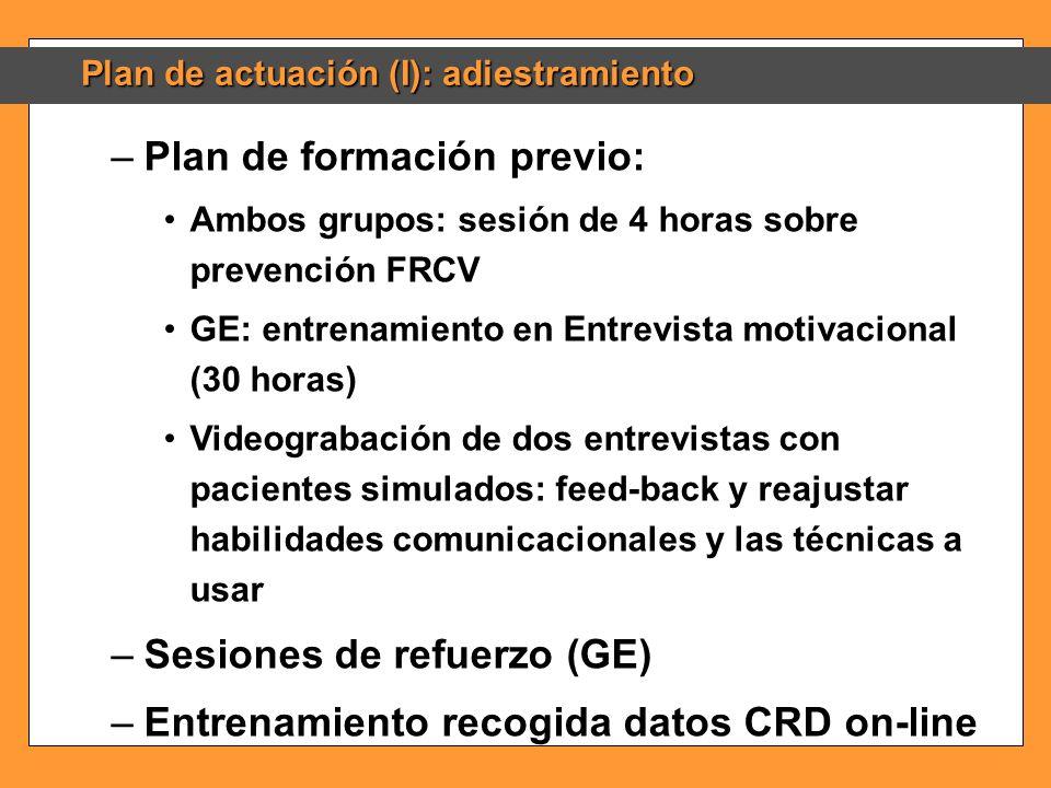 Plan de actuación (I): adiestramiento –Plan de formación previo: Ambos grupos: sesión de 4 horas sobre prevención FRCV GE: entrenamiento en Entrevista