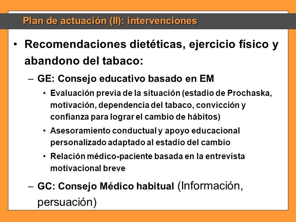 Plan de actuación (II): intervenciones Recomendaciones dietéticas, ejercicio físico y abandono del tabaco:Recomendaciones dietéticas, ejercicio físico