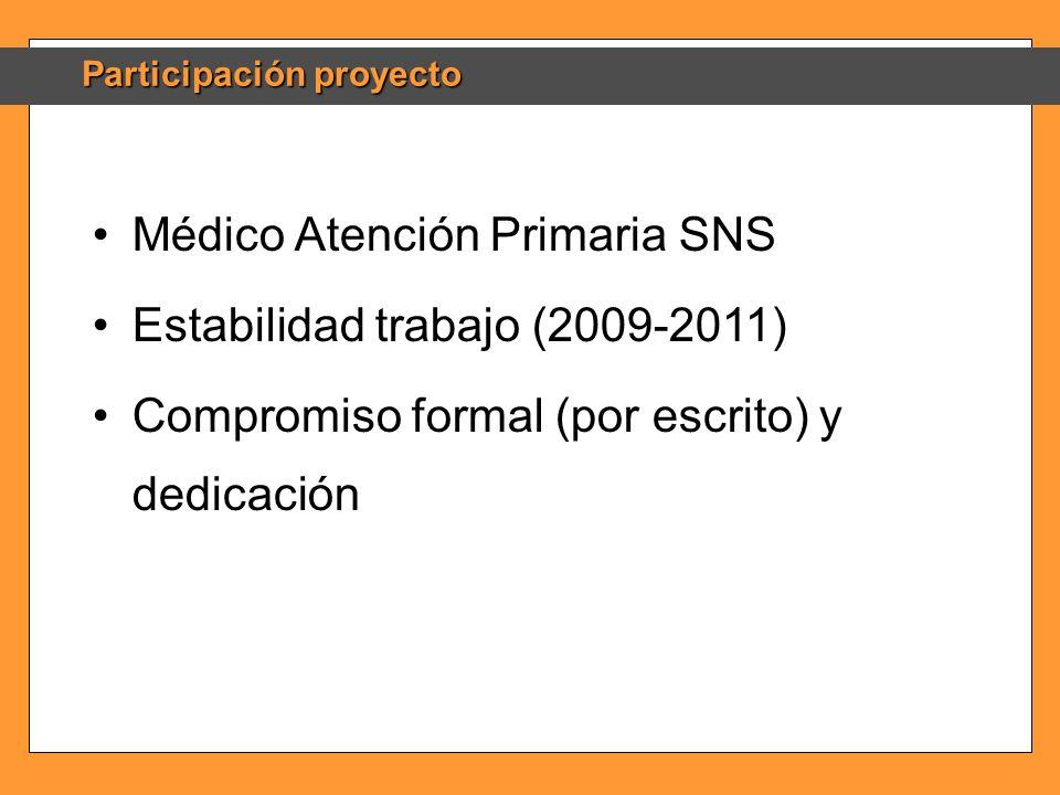 Participación proyecto Médico Atención Primaria SNS Estabilidad trabajo (2009-2011) Compromiso formal (por escrito) y dedicación