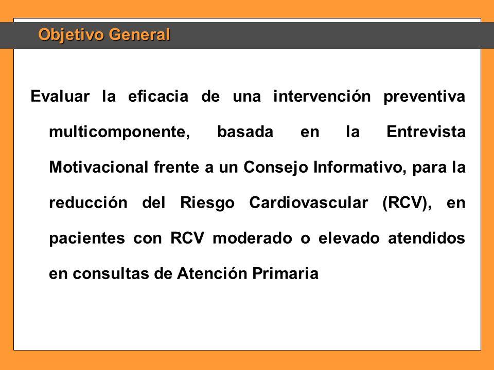 Objetivo General Evaluar la eficacia de una intervención preventiva multicomponente, basada en la Entrevista Motivacional frente a un Consejo Informat