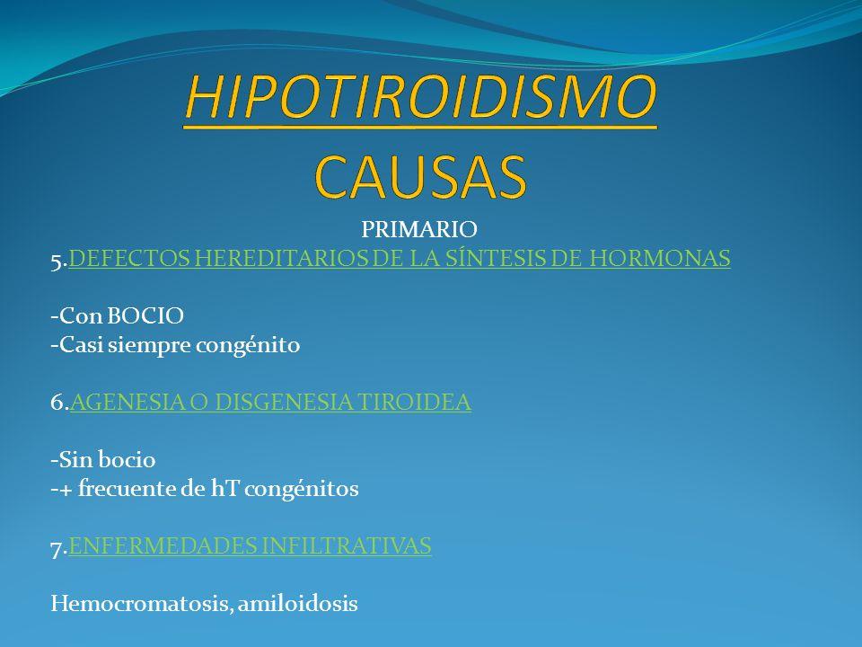 PRIMARIO 5.DEFECTOS HEREDITARIOS DE LA SÍNTESIS DE HORMONAS -Con BOCIO -Casi siempre congénito 6.AGENESIA O DISGENESIA TIROIDEA -Sin bocio -+ frecuent