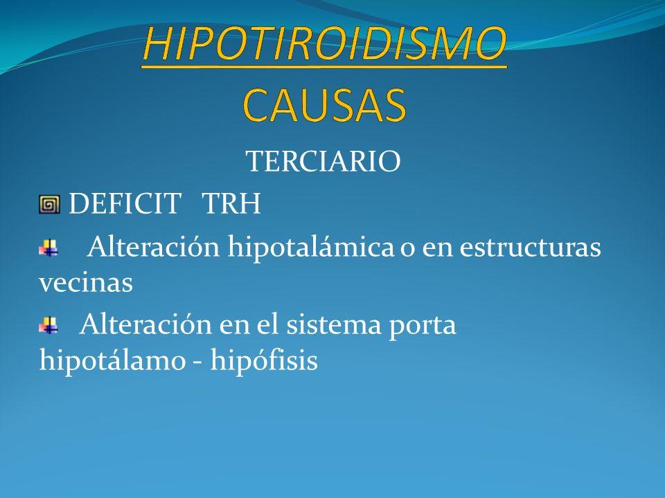 TERCIARIO DEFICIT TRH Alteración hipotalámica o en estructuras vecinas Alteración en el sistema porta hipotálamo - hipófisis