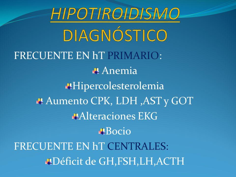 FRECUENTE EN hT PRIMARIO: Anemia Hipercolesterolemia Aumento CPK, LDH,AST y GOT Alteraciones EKG Bocio FRECUENTE EN hT CENTRALES: Déficit de GH,FSH,LH