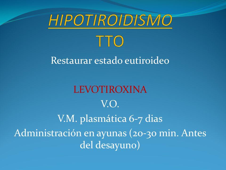Restaurar estado eutiroideo LEVOTIROXINA V.O. V.M. plasmática 6-7 dias Administración en ayunas (20-30 min. Antes del desayuno)
