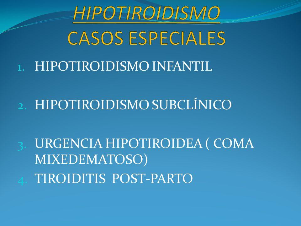 1. HIPOTIROIDISMO INFANTIL 2. HIPOTIROIDISMO SUBCLÍNICO 3. URGENCIA HIPOTIROIDEA ( COMA MIXEDEMATOSO) 4. TIROIDITIS POST-PARTO