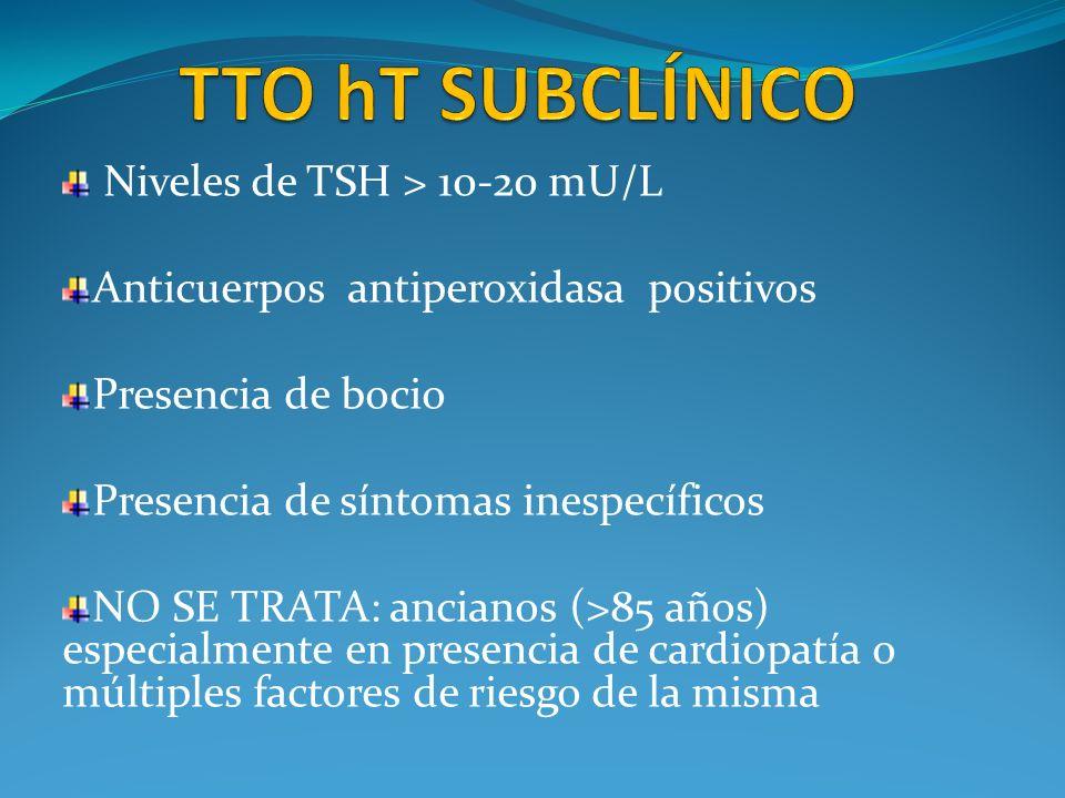 Niveles de TSH > 10-20 mU/L Anticuerpos antiperoxidasa positivos Presencia de bocio Presencia de síntomas inespecíficos NO SE TRATA: ancianos (>85 año