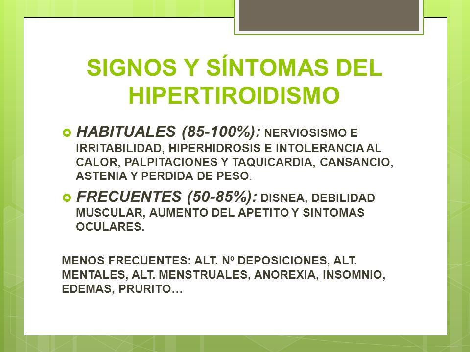 SIGNOS Y SÍNTOMAS DEL HIPERTIROIDISMO HABITUALES (85-100%): NERVIOSISMO E IRRITABILIDAD, HIPERHIDROSIS E INTOLERANCIA AL CALOR, PALPITACIONES Y TAQUIC