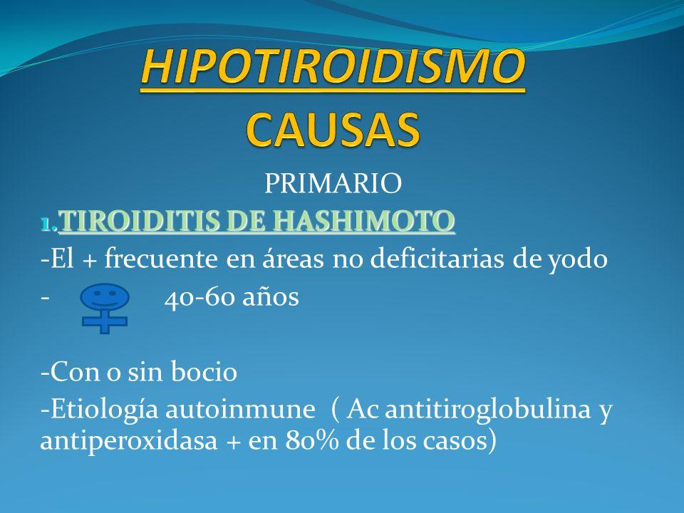 PRIMARIO 1. TIROIDITIS DE HASHIMOTO -El + frecuente en áreas no deficitarias de yodo - 40-60 años -Con o sin bocio -Etiología autoinmune ( Ac antitiro