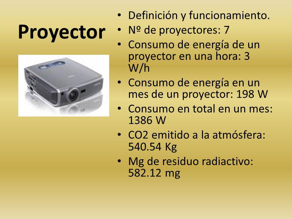 Proyector Definición y funcionamiento. Nº de proyectores: 7 Consumo de energía de un proyector en una hora: 3 W/h Consumo de energía en un mes de un p