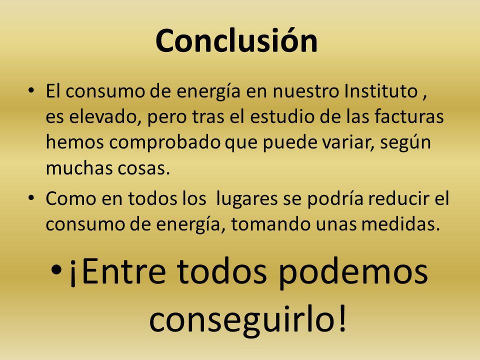 Conclusión El consumo de energía en nuestro Instituto, es elevado, pero tras el estudio de las facturas hemos comprobado que puede variar, según mucha