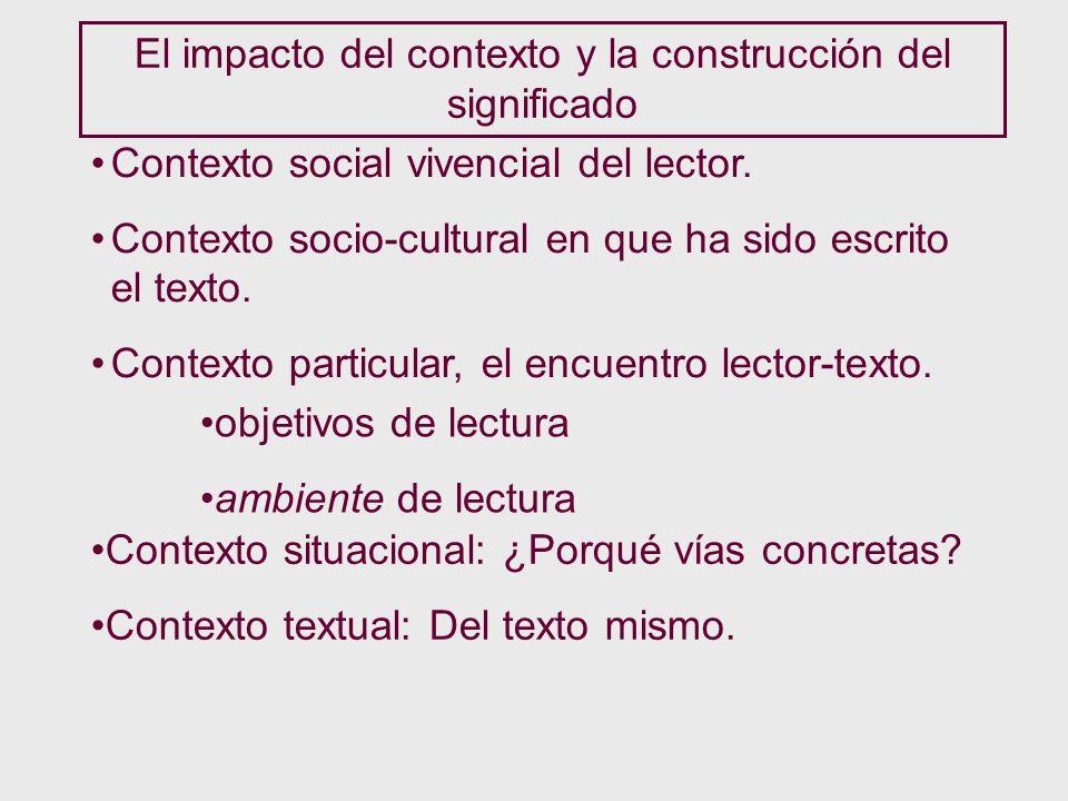 El impacto del contexto y la construcción del significado Contexto social vivencial del lector. Contexto socio-cultural en que ha sido escrito el text