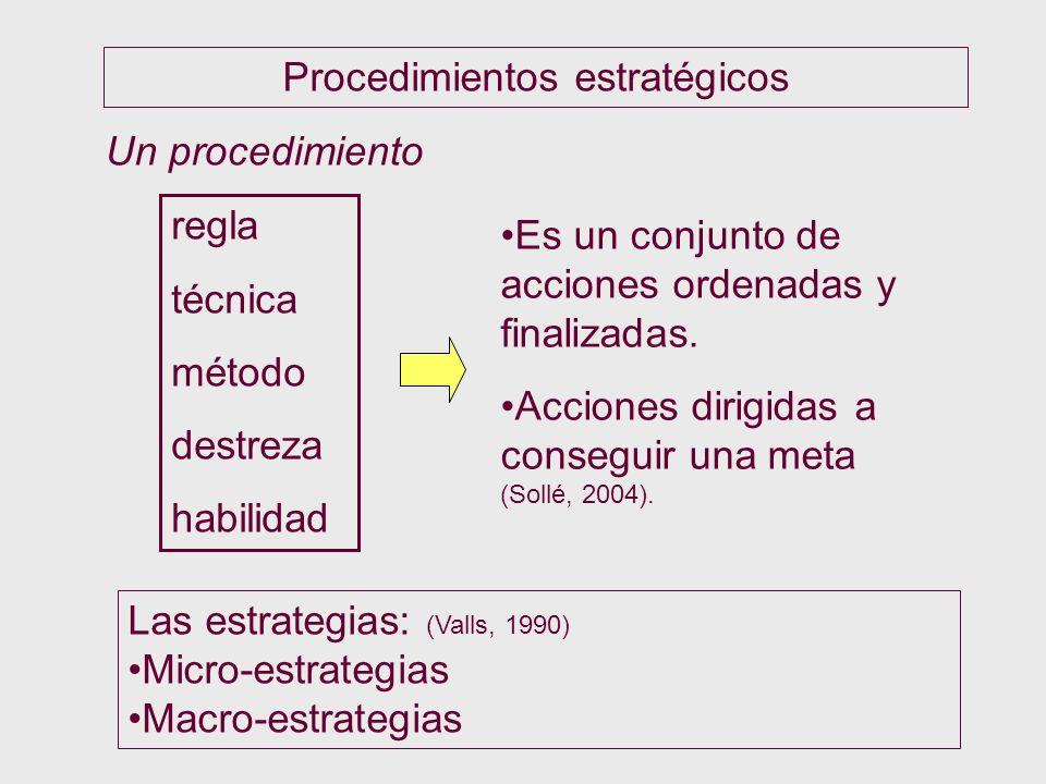 Procedimientos estratégicos Un procedimiento regla técnica método destreza habilidad Es un conjunto de acciones ordenadas y finalizadas. Acciones diri