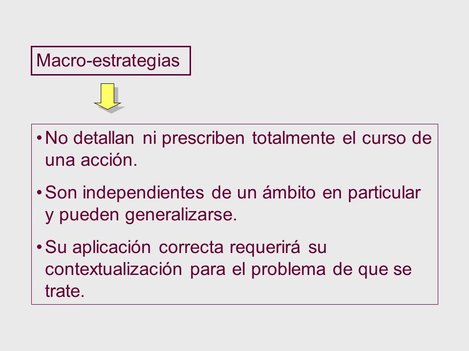 Macro-estrategias No detallan ni prescriben totalmente el curso de una acción. Son independientes de un ámbito en particular y pueden generalizarse. S