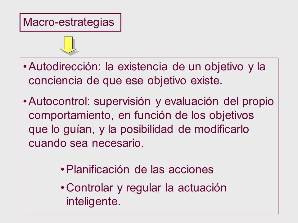 Macro-estrategias Autodirección: la existencia de un objetivo y la conciencia de que ese objetivo existe. Autocontrol: supervisión y evaluación del pr