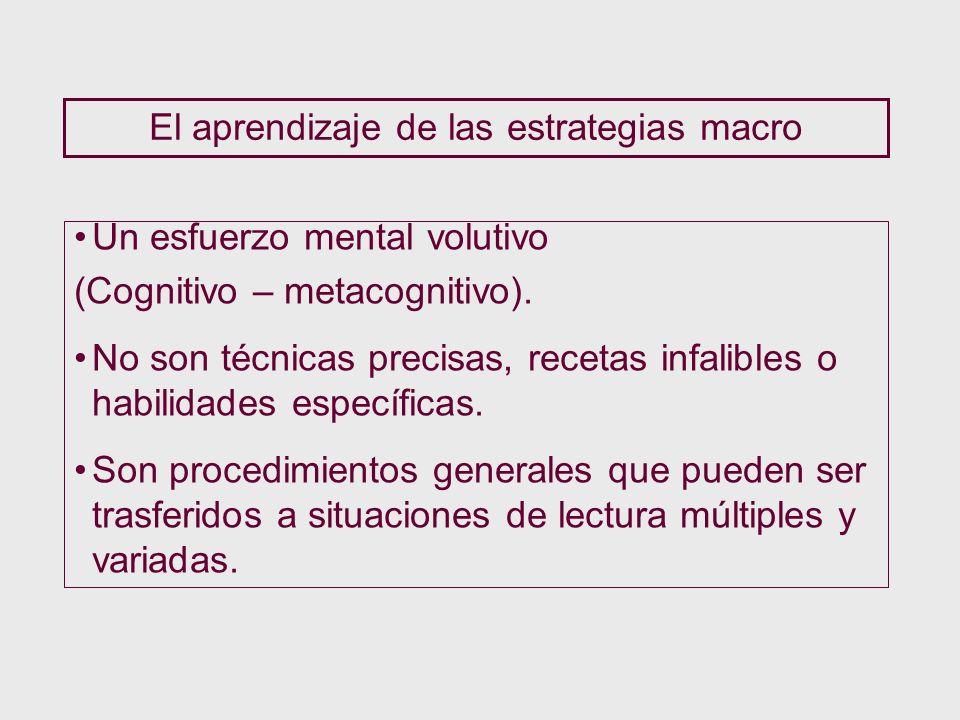 El aprendizaje de las estrategias macro Un esfuerzo mental volutivo (Cognitivo – metacognitivo). No son técnicas precisas, recetas infalibles o habili