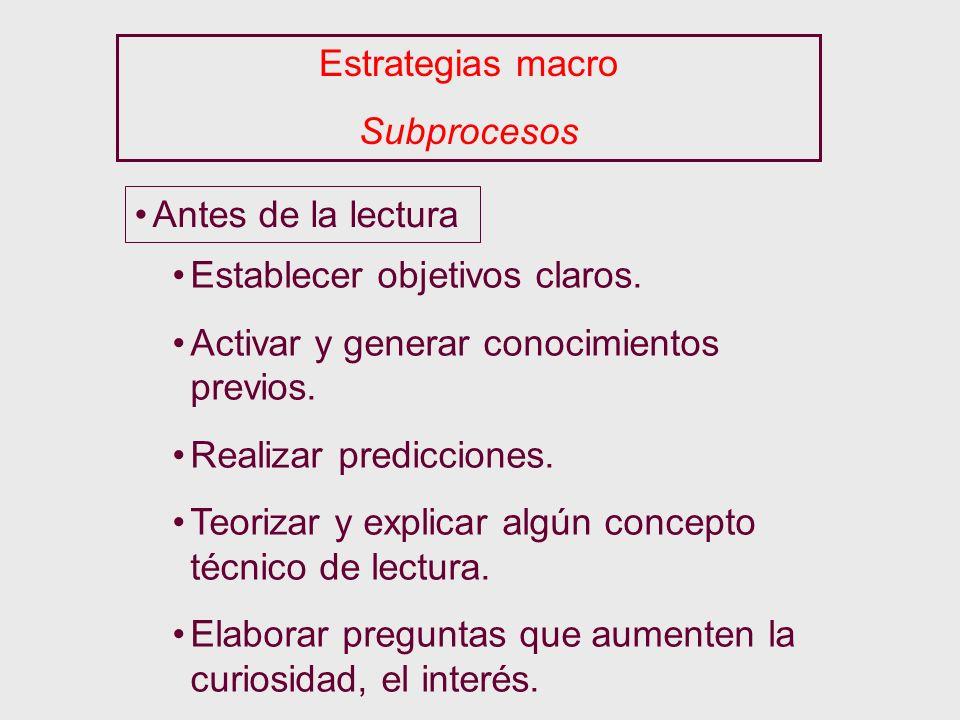 Estrategias macro Subprocesos Antes de la lectura Establecer objetivos claros. Activar y generar conocimientos previos. Realizar predicciones. Teoriza