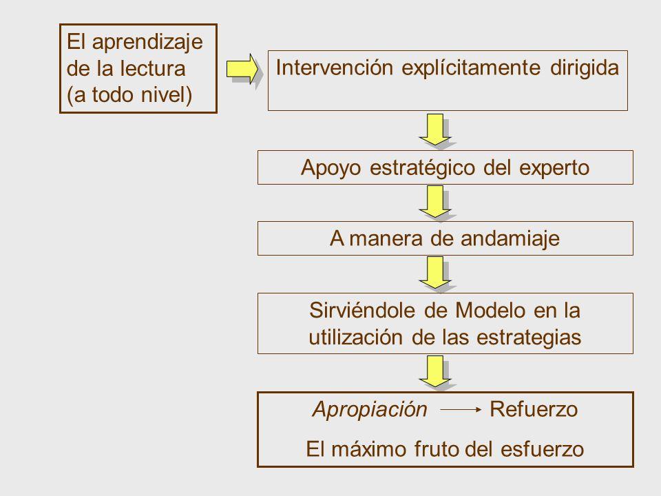 El aprendizaje de la lectura (a todo nivel) Intervención explícitamente dirigida Apoyo estratégico del experto A manera de andamiaje Sirviéndole de Mo