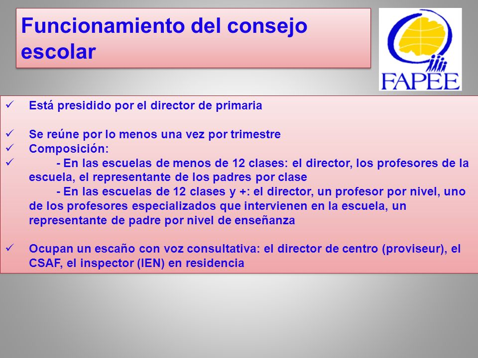 Administracio n ProfesoresPersonal administrativo y otros puestos PadresAlumnos 4 escaños3131 54132 65142 75243 86253 96354 10 escaños7364