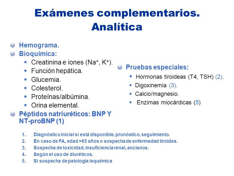 Exámenes complementarios. Analítica Hemograma. Bioquímica: Creatinina e iones (Na +, K + ). Función hepática. Glucemia. Colesterol. Proteínas/albúmina