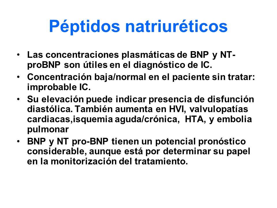 Péptidos natriuréticos Las concentraciones plasmáticas de BNP y NT- proBNP son útiles en el diagnóstico de IC. Concentración baja/normal en el pacient