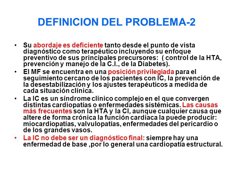DEFINICION DEL PROBLEMA-2 Su abordaje es deficiente tanto desde el punto de vista diagnóstico como terapéutico incluyendo su enfoque preventivo de sus