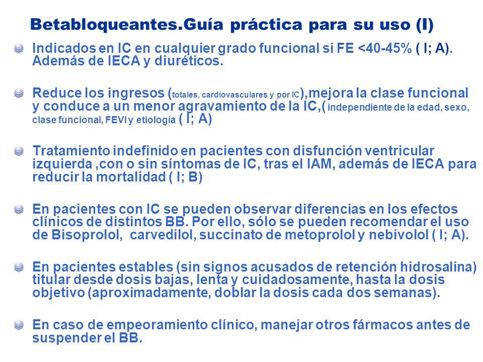 Betabloqueantes.Guía práctica para su uso (I) Indicados en IC en cualquier grado funcional si FE <40-45% ( I; A). Además de IECA y diuréticos. Reduce