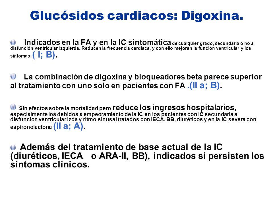 Indicados en la FA y en la IC sintomática de cualquier grado, secundaria o no a disfunción ventricular izquierda. Reducen la frecuencia cardiaca, y co