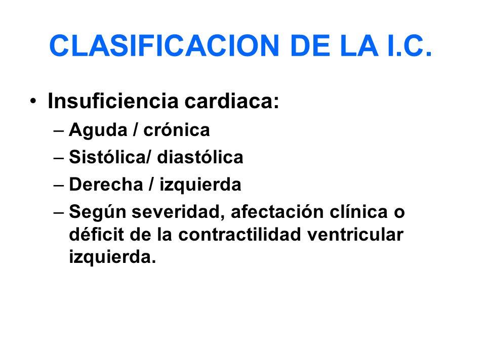 CLASIFICACION DE LA I.C. Insuficiencia cardiaca: –Aguda / crónica –Sistólica/ diastólica –Derecha / izquierda –Según severidad, afectación clínica o d