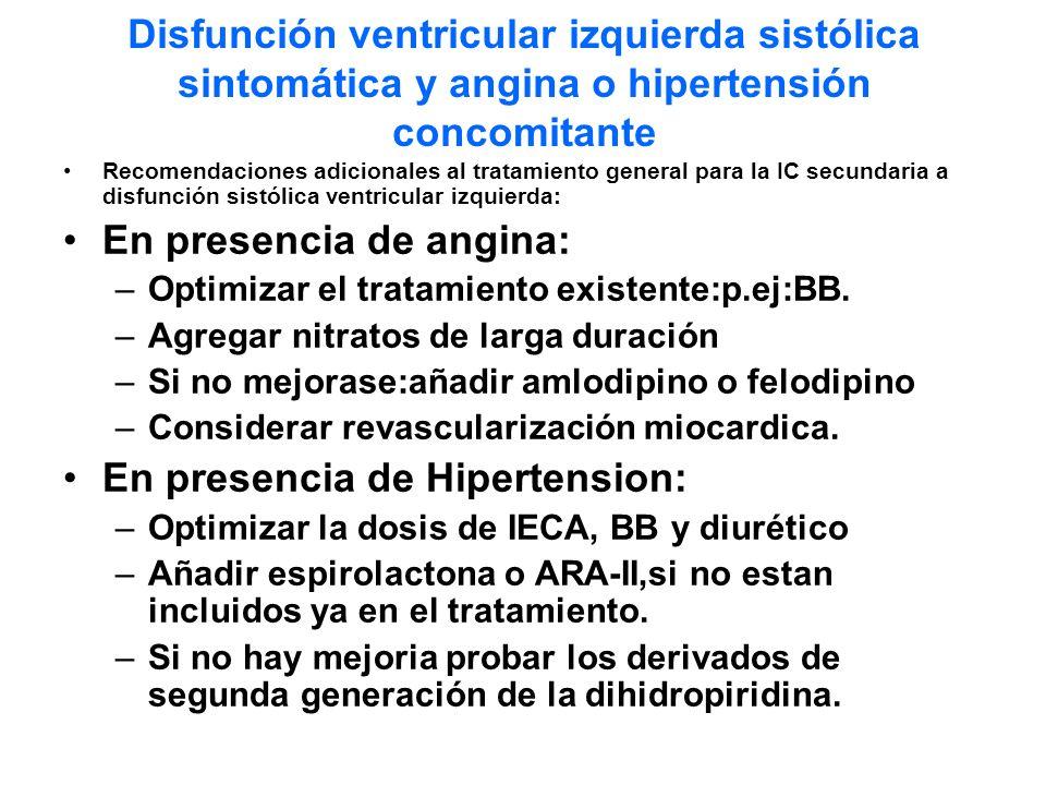 Disfunción ventricular izquierda sistólica sintomática y angina o hipertensión concomitante Recomendaciones adicionales al tratamiento general para la