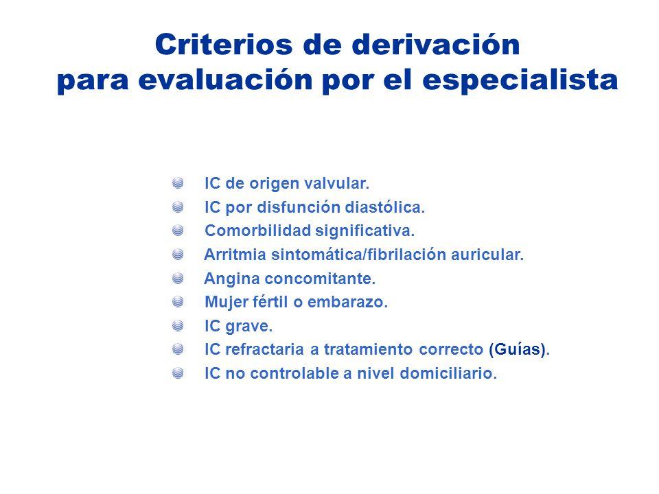 IC de origen valvular. IC por disfunción diastólica. Comorbilidad significativa. Arritmia sintomática/fibrilación auricular. Angina concomitante. Muje