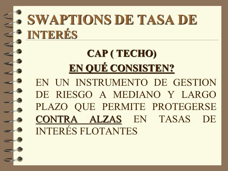 SWAPTIONS DE TASA DE INTERÉS CAP ( TECHO) EN QUÉ CONSISTEN? CONTRA ALZAS EN UN INSTRUMENTO DE GESTION DE RIESGO A MEDIANO Y LARGO PLAZO QUE PERMITE PR
