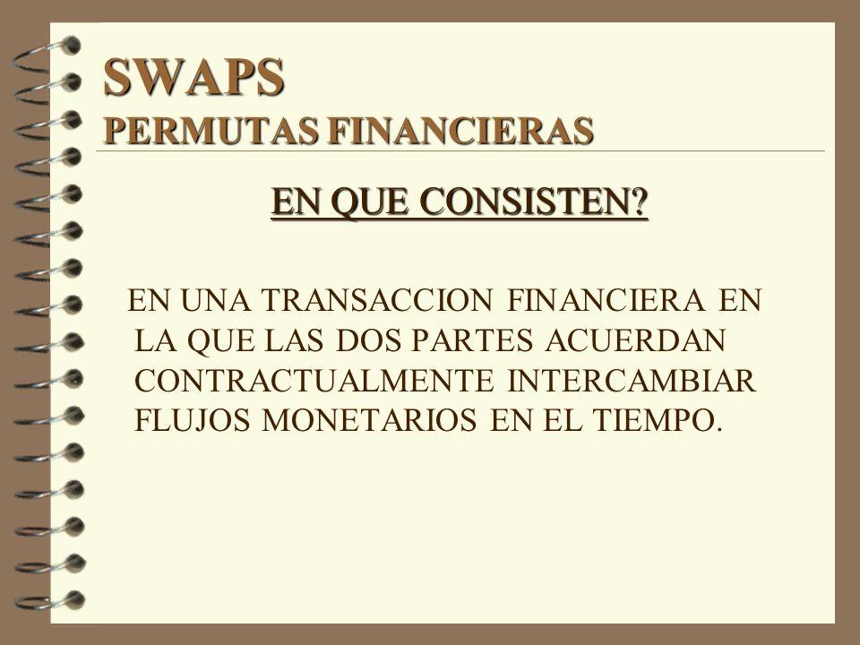 SWAPS PERMUTAS FINANCIERAS EN QUE CONSISTEN? EN UNA TRANSACCION FINANCIERA EN LA QUE LAS DOS PARTES ACUERDAN CONTRACTUALMENTE INTERCAMBIAR FLUJOS MONE