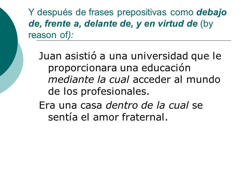 Y después de frases prepositivas como debajo de, frente a, delante de, y en virtud de (by reason of): Juan asistió a una universidad que le proporcion