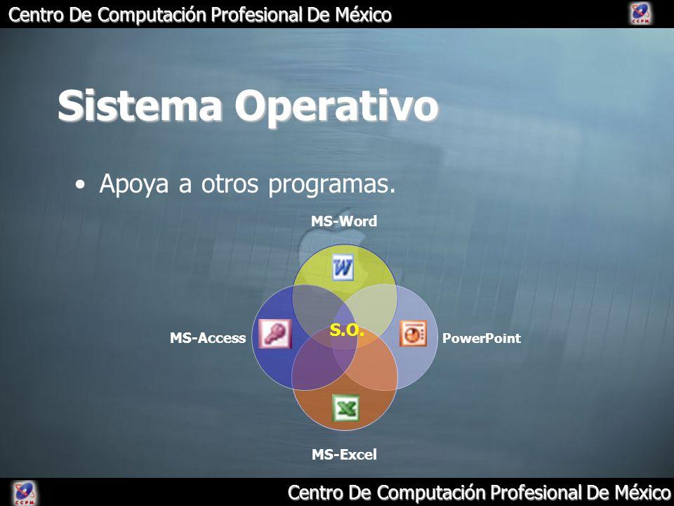 Centro De Computación Profesional De México Sistema Operativo Apoya a otros programas. S.O.