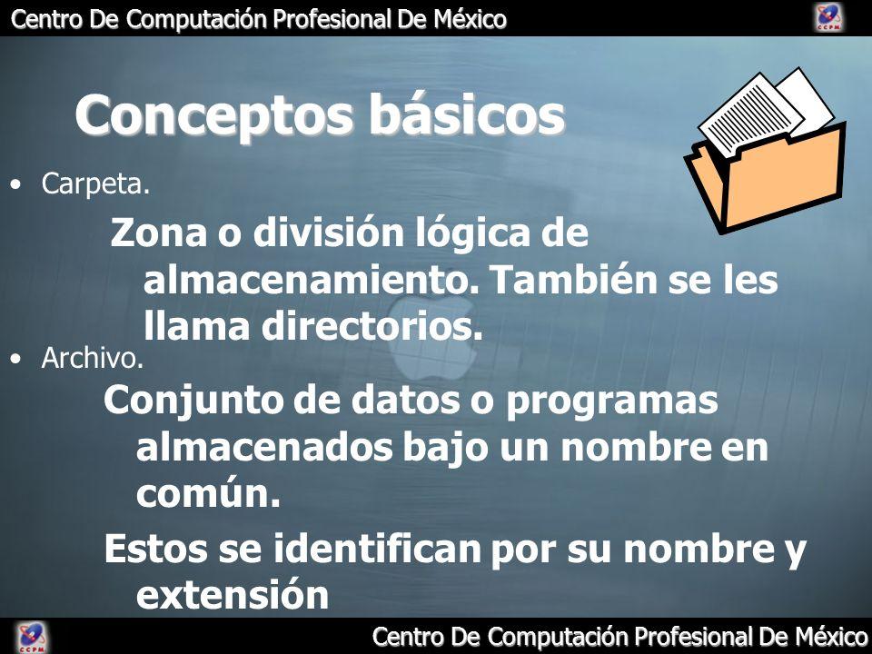 Centro De Computación Profesional De México Conceptos básicos Carpeta. Zona o división lógica de almacenamiento. También se les llama directorios. Arc