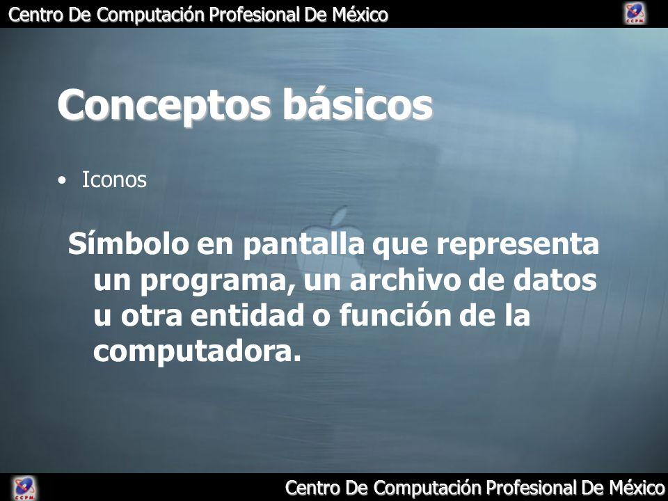 Centro De Computación Profesional De México Conceptos básicos Iconos Símbolo en pantalla que representa un programa, un archivo de datos u otra entida
