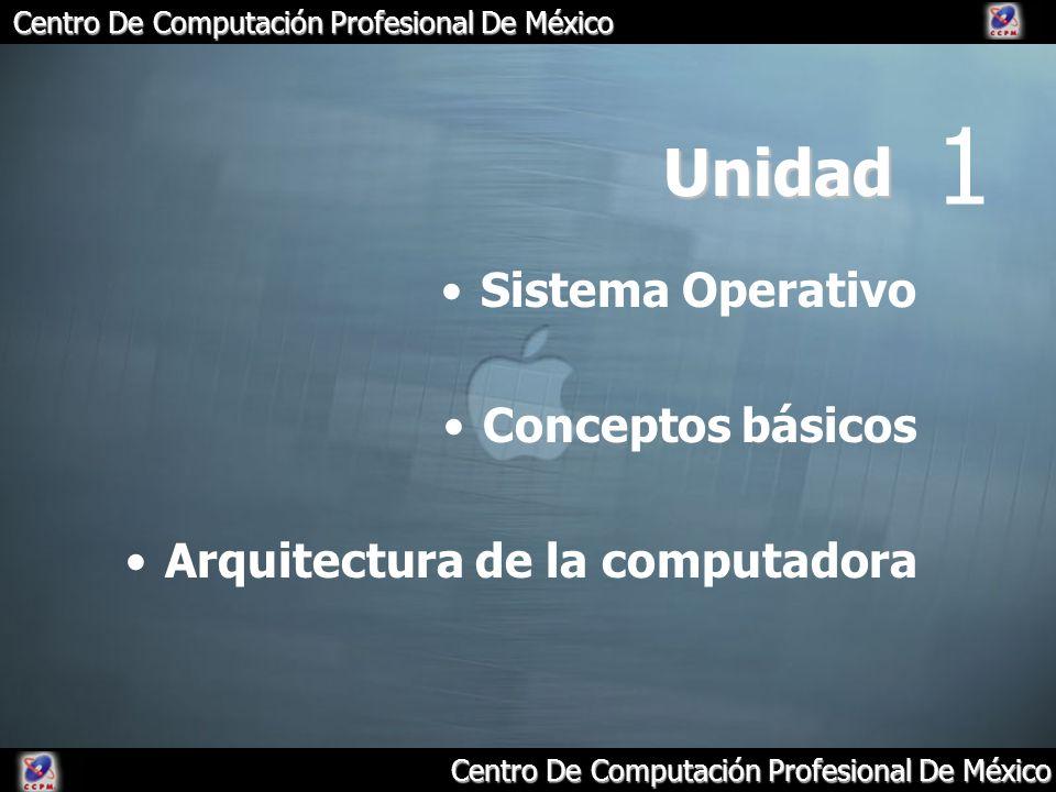 Centro De Computación Profesional De México Unidad Sistema Operativo Conceptos básicos Arquitectura de la computadora 1