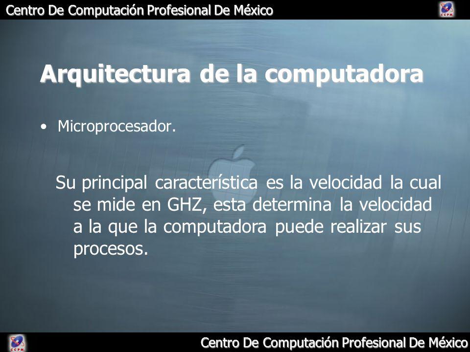 Arquitectura de la computadora Microprocesador. Su principal característica es la velocidad la cual se mide en GHZ, esta determina la velocidad a la q