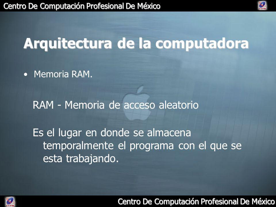 Arquitectura de la computadora Memoria RAM. RAM - Memoria de acceso aleatorio Es el lugar en donde se almacena temporalmente el programa con el que se