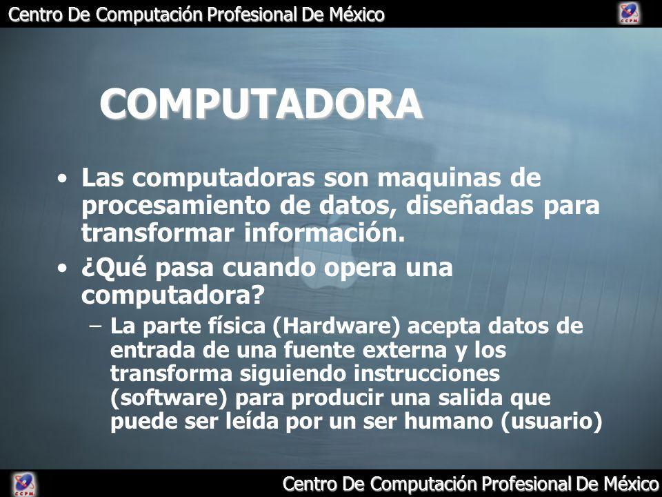 Centro De Computación Profesional De México COMPUTADORA Las computadoras son maquinas de procesamiento de datos, diseñadas para transformar informació